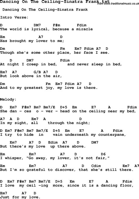 Lyrics To On The Ceiling by Jazz Song On The Ceiling Sinatra Frank With Chords Tabs And Lyrics From Top Bands And