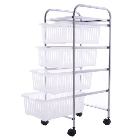 Bathroom Storage Trolley 4 Tier Storage Trolley Rolling Cart Rack Basket Shelf Home