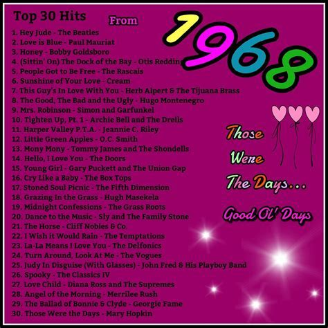 1968 top 30 hits   Song Charts by Year   High school