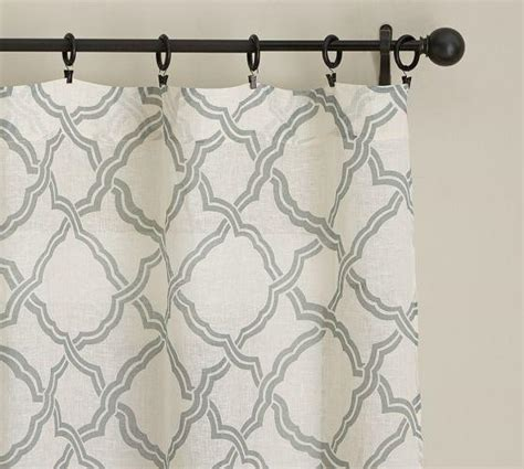 White Curtains With Gray Pattern Gray Trellis Pattern Sheer White Drape