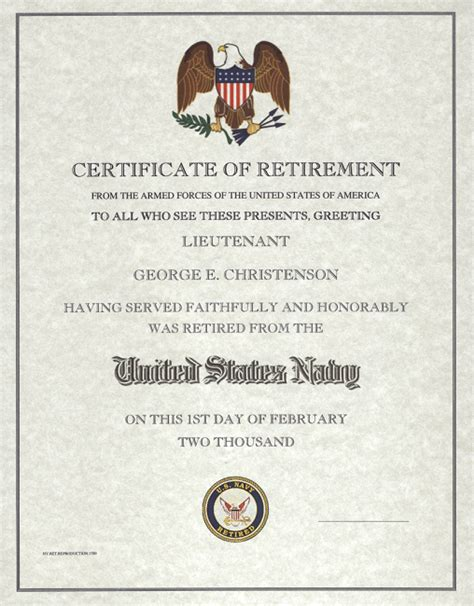 retirement certificate us navy