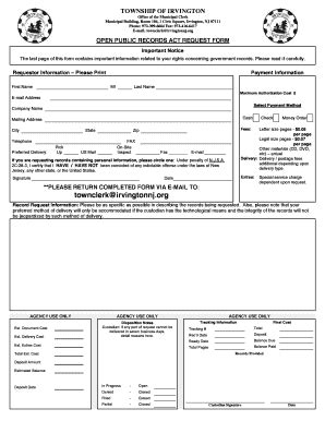 Records Act Requests Irvington Nj Open Records Act Request Form Fill Printable Fillable