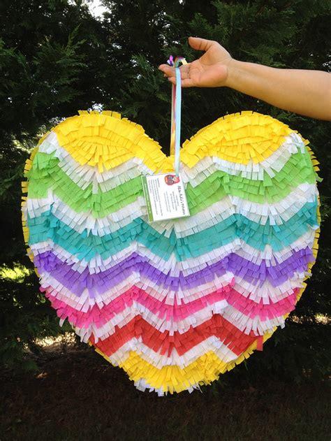 heart pinata chevron pattern rainbow colors wedding