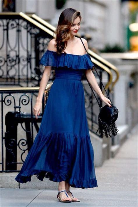 Drss 962 Flowy Roses Maxidress blue dress miranda kerr the shoulder dress maxi