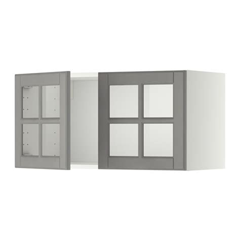 metod wall cabinet with 2 glass doors white bodbyn grey