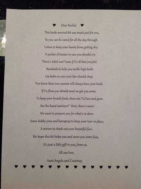 bridal survival kit poem   Gifts for others!   Wedding