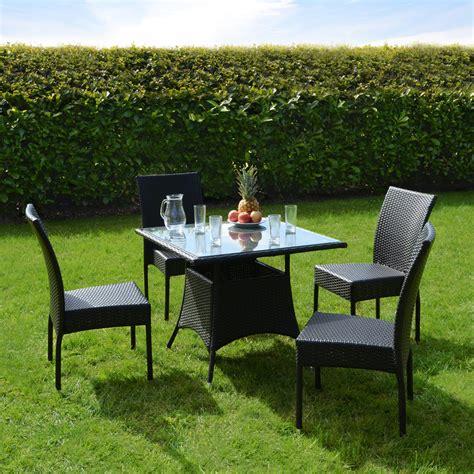 New Aluminium Rattan Wicker Garden Furniture Table 4 Black Rattan Outdoor Furniture