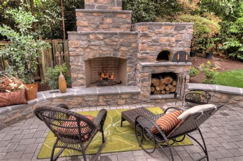 Outdoor Patio Designs With Fireplace Outdoor Fireplace With Pizza Oven Traditional Patio Portland By Paradise Restored