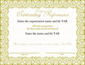certificate of performance template award certificate templates