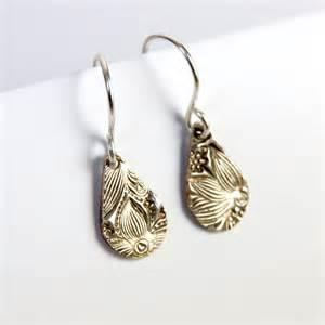drop earrings silver silver drop earrings oxidised floral design sycamoon jewellery