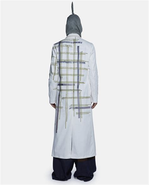 lab jacket pattern raf simons long lab coat with grey grid pattern in gray