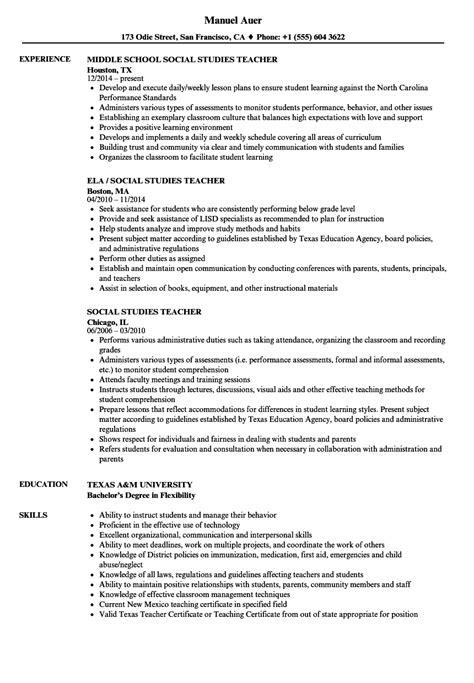 sle resume objective for social studies social studies resume sles velvet