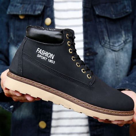 mens work safety shoes leather boots toe cap ankle