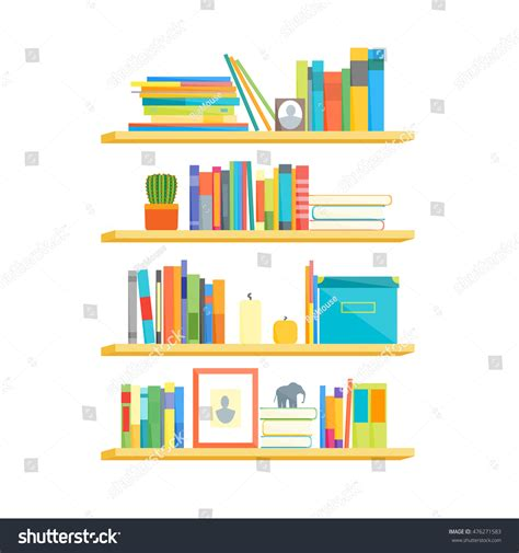 Home Designer Suite Library Objects Flat Book Shelves Colorful Objects Stock Vector