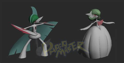 Gardevoir Papercraft - wip mega gallade and mega gardevoir papercraft by