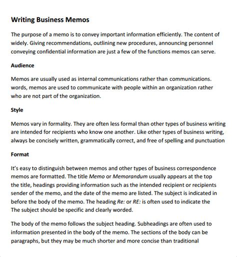 sle company memo template 6 free documents