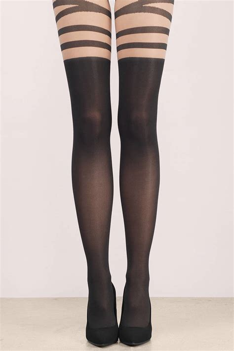 Stripe Tights black legwear black legwear striped legwear 2 00