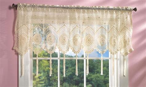Scalloped Valances For Windows Decor White Crochet Tassel Fringe Lace Design Scallop Window Valance Curtain Crochet
