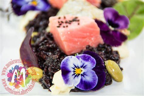 fiori di arancia salmone confit ai fiori con riso al t 232 nero e arancia e