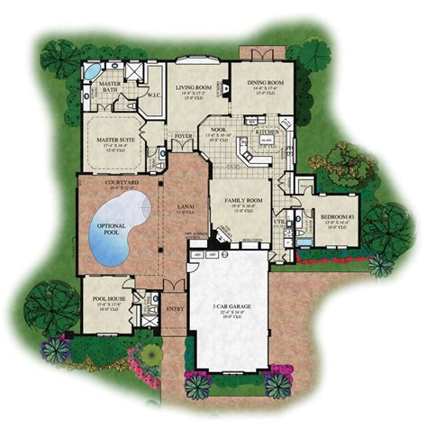 center courtyard house plans u shaped house plans with central courtyard