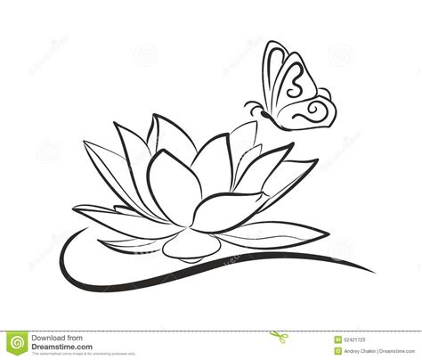 water lotus with a butterfly stock vector illustration