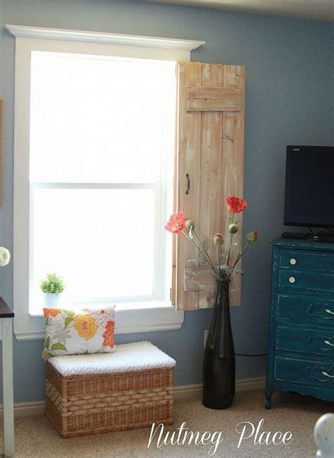 window molding and rustic indoor shutters flower