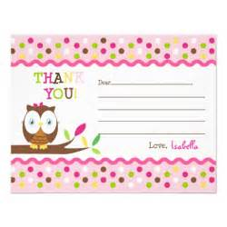 owl fill in the blank thank you note cards 4 25 quot x 5 5 quot invitation card zazzle