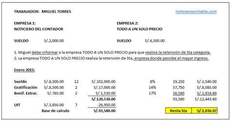 calculo de categoria 5ta sunat ano 2015 carta inductiva por inconsistencia en renta de 5ta