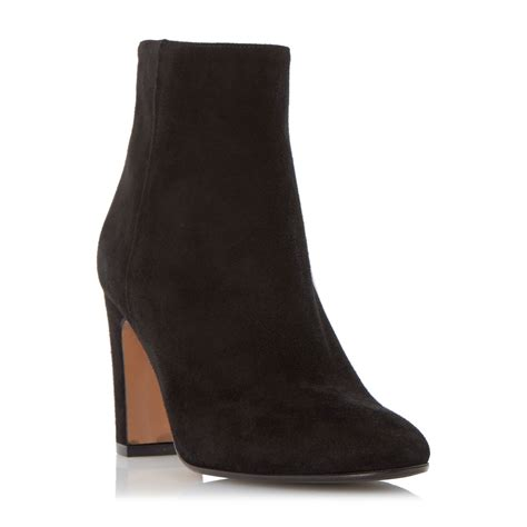 dune black ophira suede almond toe ankle boots in black lyst