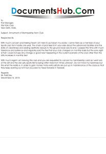 membership cancellation letter format documentshubcom