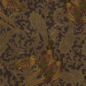 Equestrian Upholstery Fabric Brown Paisley Wallpaper