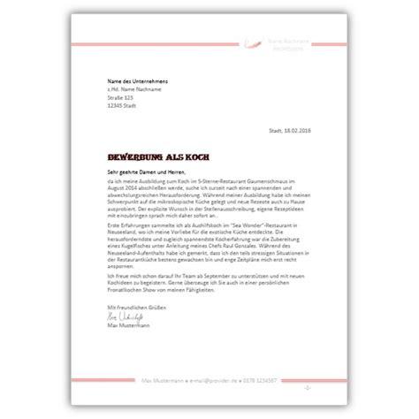 Anschreiben Koch Bewerbungsvorlage B 228 Cker Bewerbungsdesign