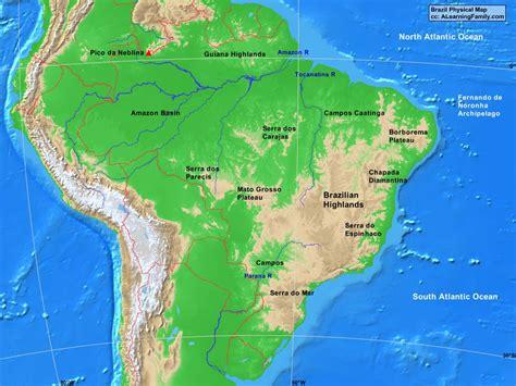 brazil physical map brazil physical map a learning family