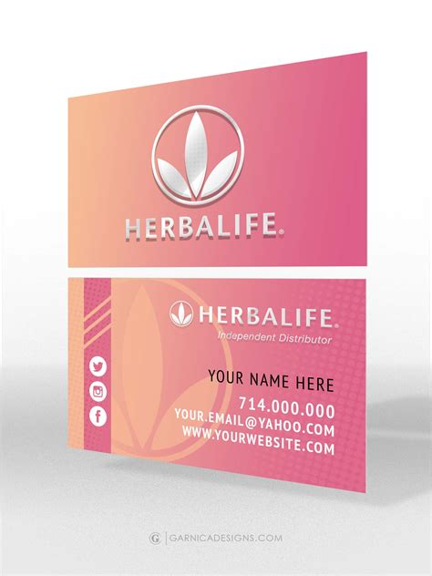 herbalife business card template herbalife pink business card