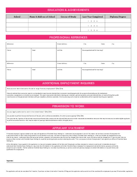 Generic Cover Letter For free printable charlotte russe job application form page 2