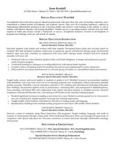 Resume Sles For Special Education Teachers Assistants Best Special Education Resume Resume Template Exle