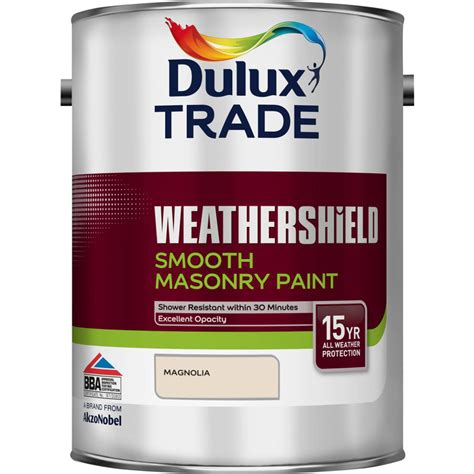 dulux trade weathershield smooth masonry paint 5l magnolia toolstation