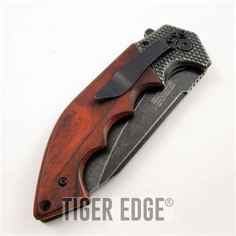 wood handle folding knife mtech large wood handle stonewash assist