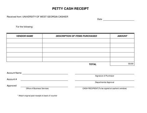 petty cash receipt form template  simple  easy
