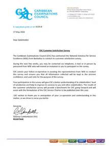 Customer Satisfaction Survey Cover Letter by Cxc Customer Satisfaction Survey Caribbean Examinations