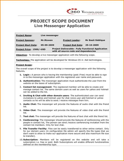 project scope document template project project scope template
