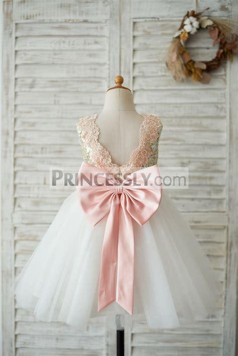 Dress Anak Pink Flower Belt Import gold sequin ivory tulle v back wedding flower dress with pink lace belt