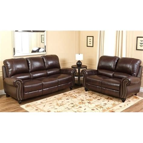 leather reclining sofa sets bowery hill 2 piece leather pushback reclining sofa set