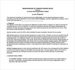 memorandum of understanding template 9 download free