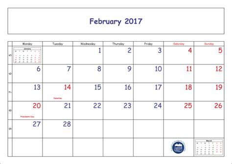 feb week blank printable february 2017 calendar with week numbers