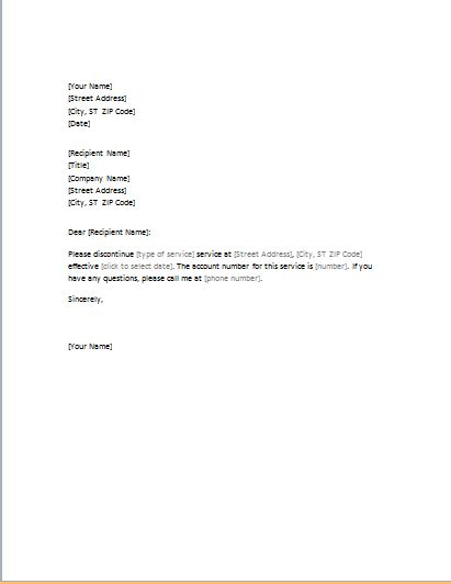 cancellation letter of service letter requesting cancellation of services word excel
