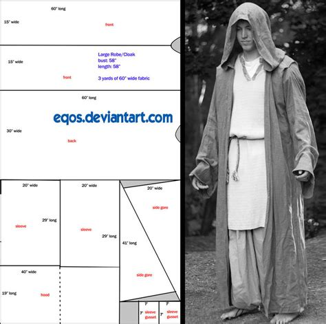 cloak template pattern large hooded cloak by eqos on deviantart sca