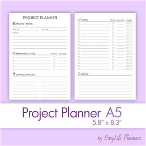 Print Ebook A5 Book Paper Monochrome project planner a5 5 83 quot x from easylifeplanners on