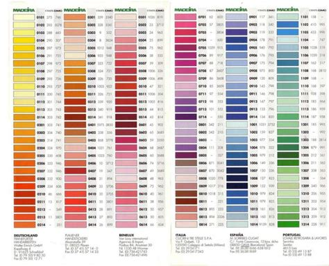 sulky embroidery thread color conversion chart madeira thread conversion chart 145 best color charts