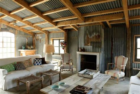 tin interior rafter design corrugated tin shed ideas